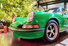 Headlight Lamp Of Green Vintage Classic Car Berlin