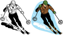 A Man Skiing Swiftly Downhill