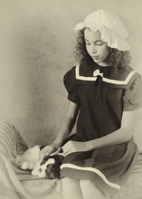 Victorian Girl With Dog