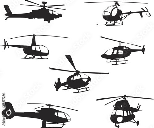 Collection of silhouettes of various helicopter Wall mural