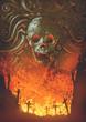Leinwandbild Motiv burning graveyard in the skull cave, digital art style, illustration painting
