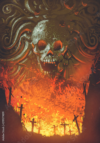 burning graveyard in the skull cave, digital art style, illustration painting