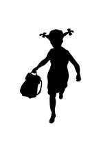 Silhouette Of Schoolgirl Black...