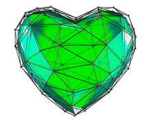 Heart Made In Low Poly Style Green Color Isolated . 3d