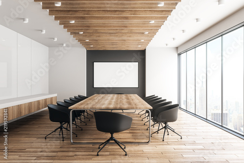 modern wooden meeting room with billboard buy this stock photo and rh stock adobe com