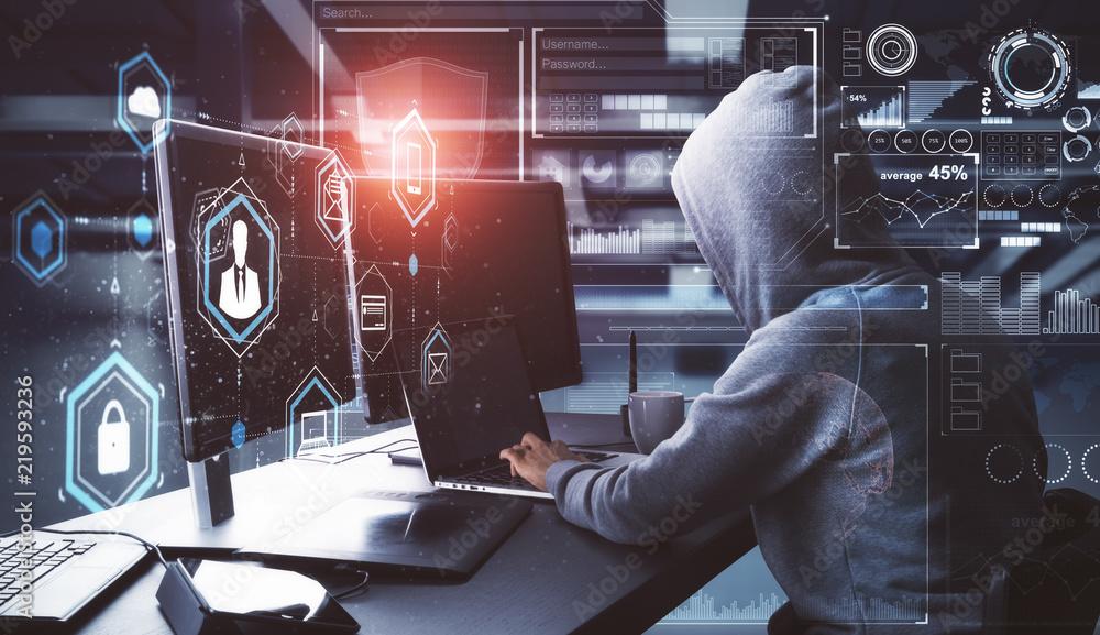 Fototapeta Hacking and criminal concept