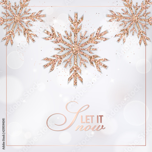 Fototapeta Elegant Merry Christmas Card With Rose Gold Glitter Snowflakes For Invitation Greetings Or Flyer And New Year Brochure 2019