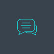 text chat concept blue line icon. Simple thin element on dark background. text chat concept outline symbol design from message set. Can be used for web and mobile UI/UX