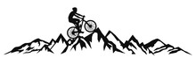 Cyclist In The Mountains – Stock Vector