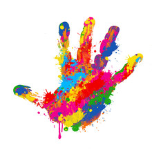 Colorful Handprint On White