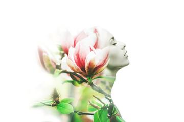 FototapetaMultiple exposure. Woman and magnolia