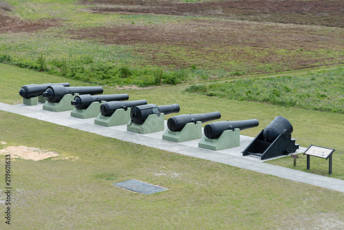 Fotografie, Obraz  Row of Civil War Cannons at Fort Moultrie