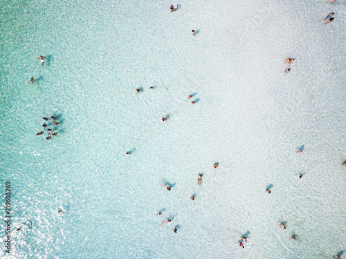 Photo  Aerial view of relaxed people swimming on a clear  and transparent sea