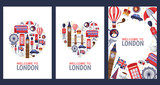 Fototapeta Londyn - Welcome to London greeting souvenir cards, print or poster design template. Travel to Great Britain flat illustration.