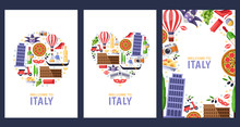 Welcome To Italy Greeting Souvenir Cards, Print Or Poster Design Template. Travel To Roma And Venice Flat Illustration.