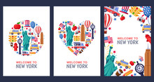 Welcome To New York Greeting Souvenir Cards, Print Or Poster Design Template. Travel To USA Flat Illustration.