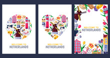 Welcome To Netherlands Greeting Cards, Print Or Poster Design Template. Travel To Amsterdam Vector Flat Illustration.