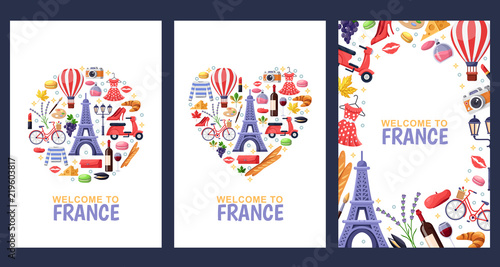 Obraz Welcome to France greeting souvenir cards, print or poster design template. Travel to Paris flat illustration. - fototapety do salonu