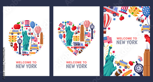 Photo Stands New York TAXI Welcome to New York greeting souvenir cards, print or poster design template. Travel to USA flat illustration.