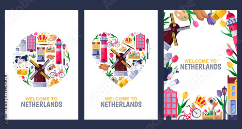 Valokuvatapetti Welcome to Netherlands greeting cards, print or poster design template