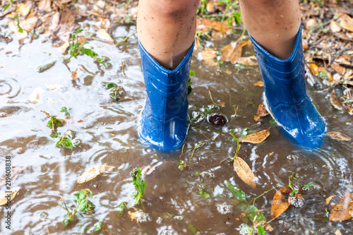 Valokuva  Legs of child wearing pair of blue rubber boots in water puddle with grass and l