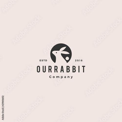 Carta da parati rabbit circle round negative style logo vintage hipster retro icon vector