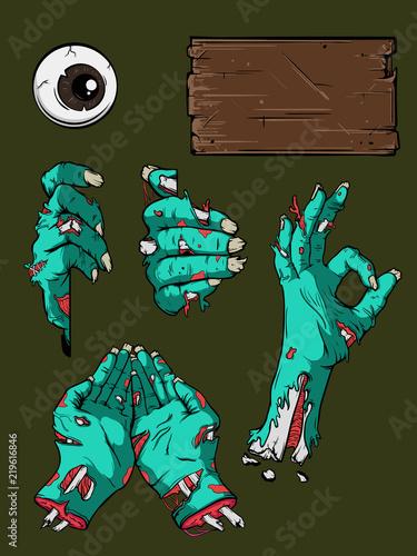 Foto auf AluDibond Aquarell Schädel Halloween zombie hands set