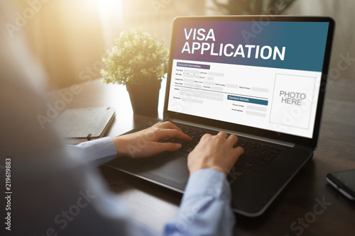 Obraz na plátně Online Visa application form on screen. Country Visit permit.