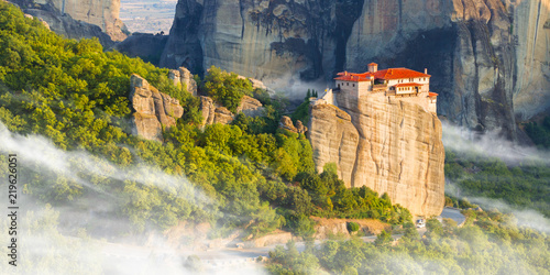 Valokuva Mountain scenery with Meteora rocks and Monastery, landscape place of monasteries on the rock