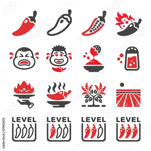 Foto chili icon set