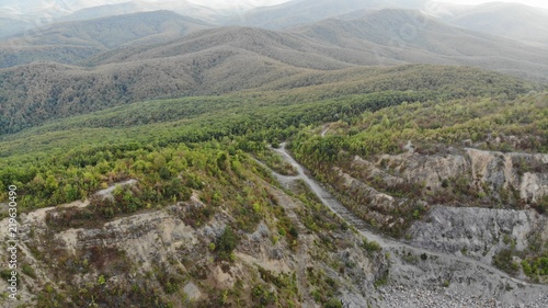Foto op Plexiglas Grijs Aerial view of the beautiful mountains in the Krasnodar region.