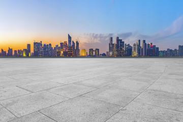 Square floor tiles and Hangzhou skyline