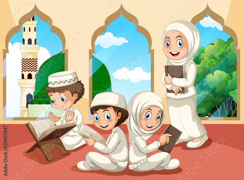 Poster Kids Group of muslim children at mosque