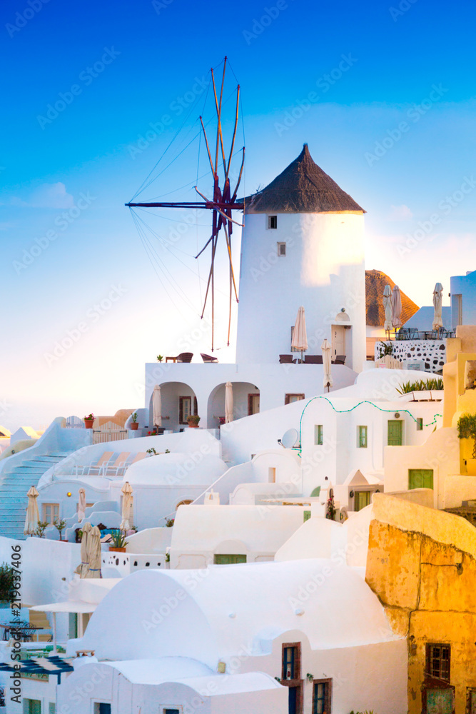 Fototapeta View of Oia the most beautiful village of Santorini Island in Greece.