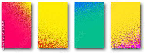 Set of backgrounds with abstract stipplism effect pattern.