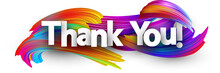 Thank You Paper Poster With Colorful Brush Strokes.