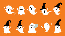 Set Of Cute Ghost  Flat Design...