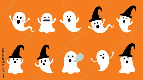 Fotografia, Obraz Set of cute ghost  flat design vector for Halloween