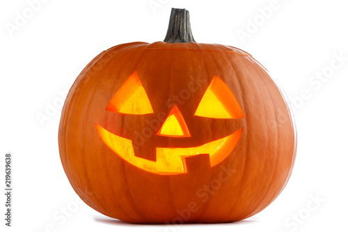 Halloween Pumpkin on white Canvas Print