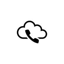 Voip, IP Telephony. Flat Vector Icon Illustration. Simple Black Symbol On White Background. Voip, IP Telephony Sign Design Template For Web And Mobile UI Element