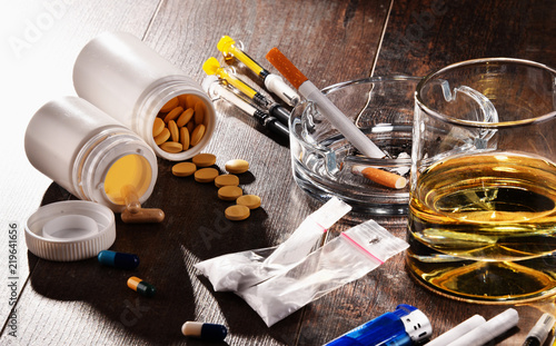 Addictive substances, including alcohol, cigarettes and drugs Wallpaper Mural