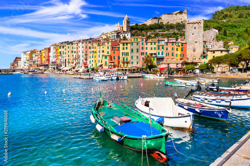 Beautiful coastal town Portovenere in cinque terre national park. Liguria, Italy