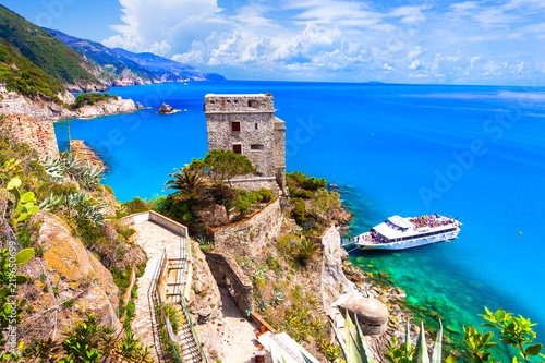 Cinque terre villages - scenic Monterosso al mare with turquoise sea. Italy, Liguria