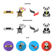Sushi, koi fish, Japanese lantern, panda.Japan set collection icons in cartoon,flat,monochrome style vector symbol stock illustration web.