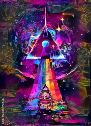 Photo  Psycodelic travel to the Dark side of the moon