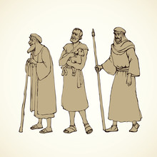 Shepherd Holding A Lamb. Vector Drawing