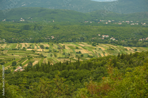 Valley in Croatia with intensive agriculture - Buy this stock photo