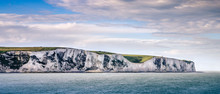View On The White Cliffs Of Dover Coast From The Sea Ferry - England