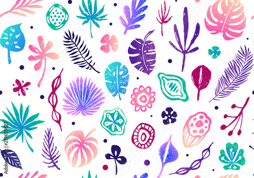 Seamless Trendy Pattern With Exotic Palm Leaves Flowers And Seeds