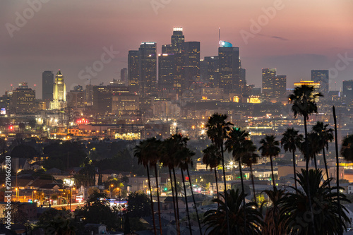 Poster Los Angeles Los Angeles downtown evening skyline